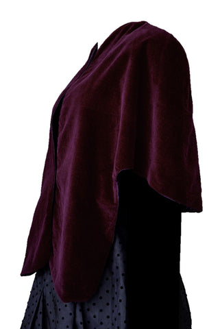 Maroon velvet vintage cape shawl, side view