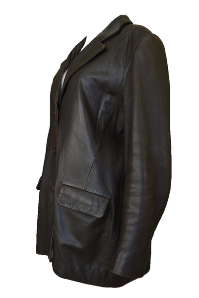 Guru Leather custom made chocolate brown leather women's jacket, side view