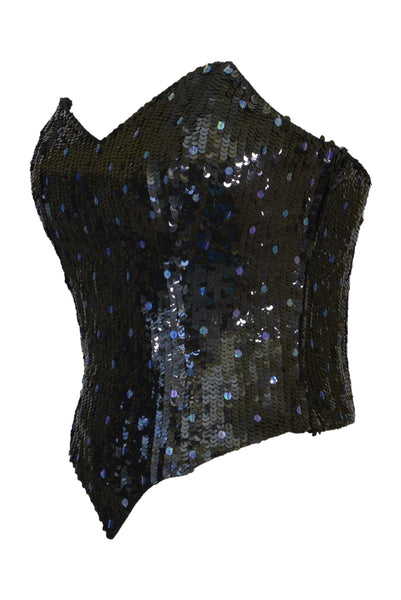 Preloved vintage Benny Ong black sequinned bustier, side view