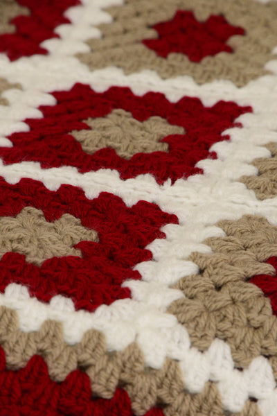 Crocheted rug, red, white, brown