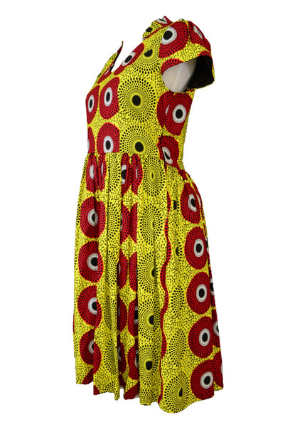 Handmade dress, red, yellow, black, side view