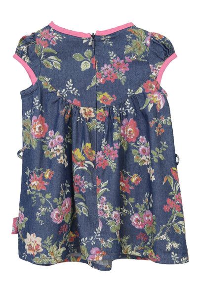 Baby Popeye navy and floral baby dress, zip at back