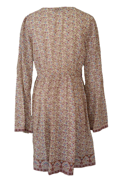 Tree of Life boho dress, pink and brown floral, long sleeved, back view.