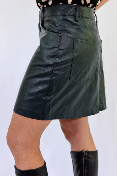 Pull and Bear Forest Green Mini Skirt SIze L - side view