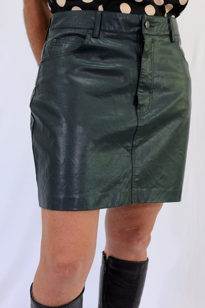 Pull and Bear Forest Green Mini Skirt SIze L - front