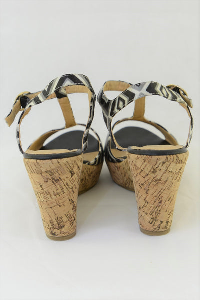 Women's No! wedge shoes, black and white straps, cork wedge heel.