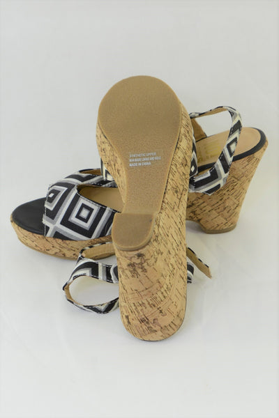 Women's No! wedge shoes, showing sole.