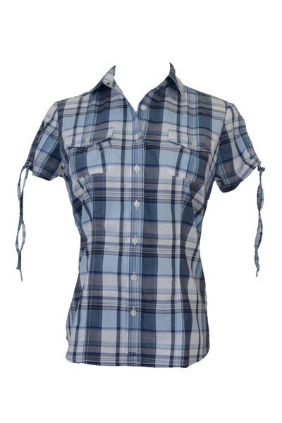 Tommy Hilfiger women's checked shirt, blue and white, ties on sleeves