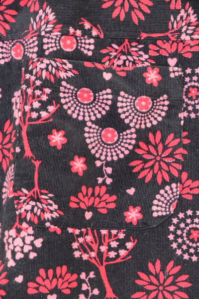 Close-up corduroy fabric, black and pink