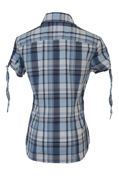 Tommy Hilfiger women's checked shirt, blue and white, back view