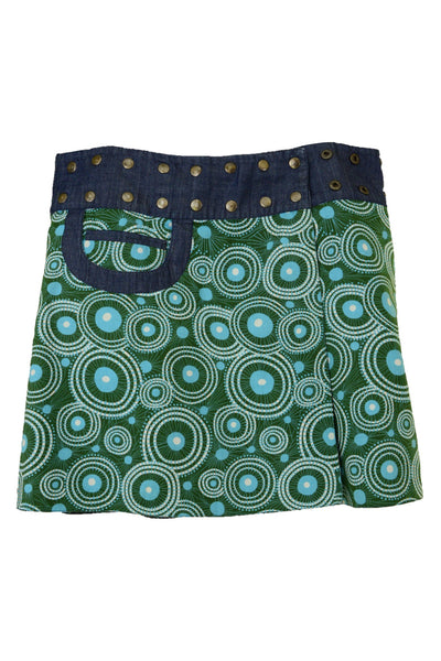 Om Designs green and blue short skirt