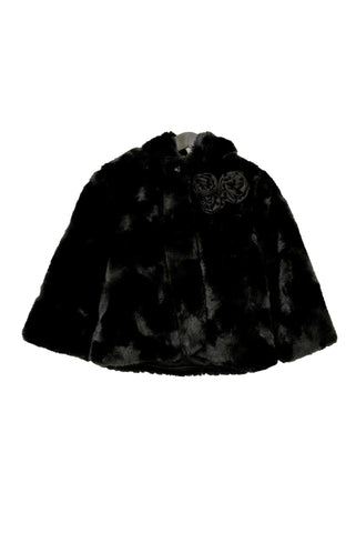 Guess girl's black faux fur jacket, front view