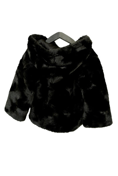 Guess girl's black faux fur jacket, back view