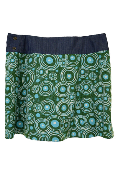 Om Designs blue and green skirt, back view