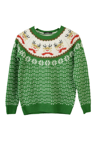 Child's George Christmas knit jumper, green and white