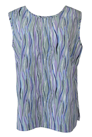 Vintage 80s David / Tosol sleeveless top, blue, green and purple.