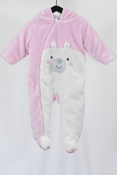 Preloved Ollie's Place pink and white hooded baby romper, with bear face.