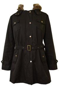 JYY black winter coat, front view