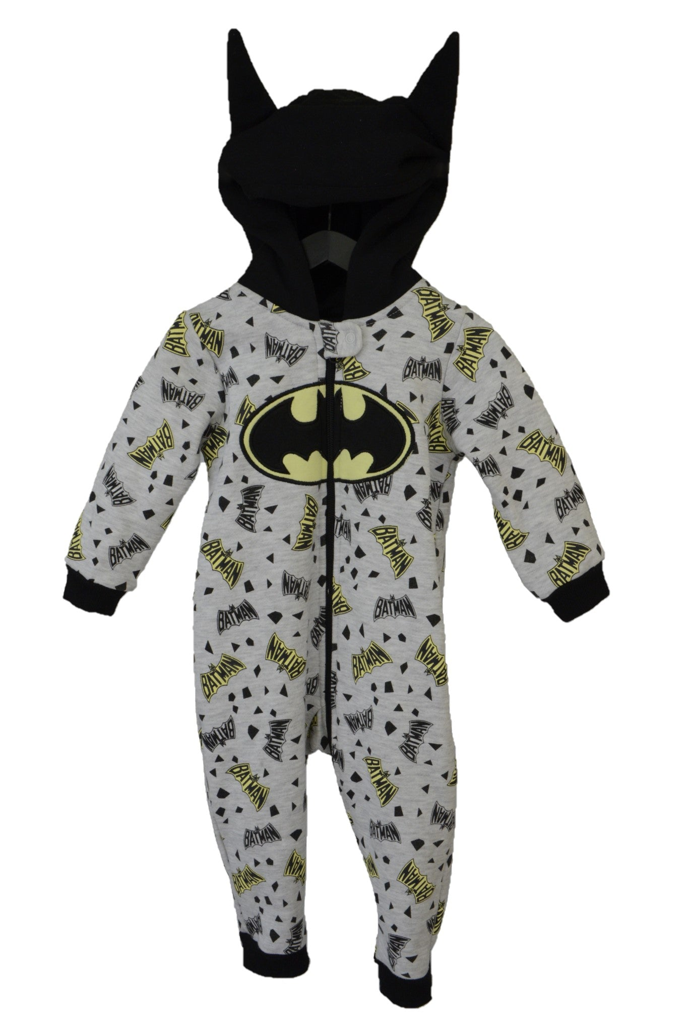 DC Comics Batman baby grey and yellow onesie with hood.