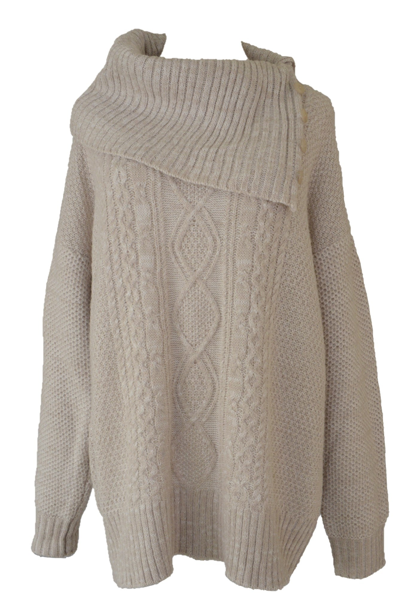 Jendi beige cowl neck knit jumper