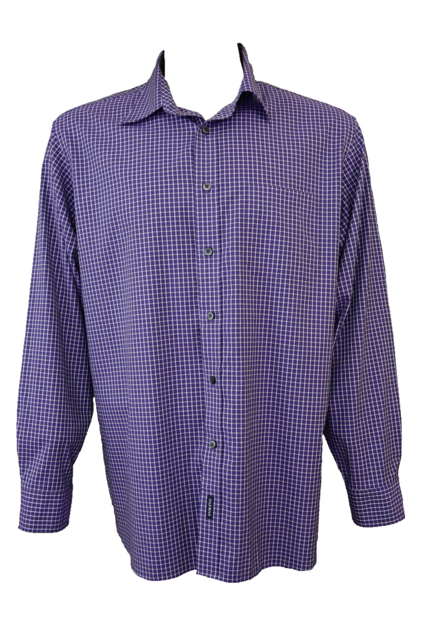 Gazman purple check long-sleeved shirt, front view