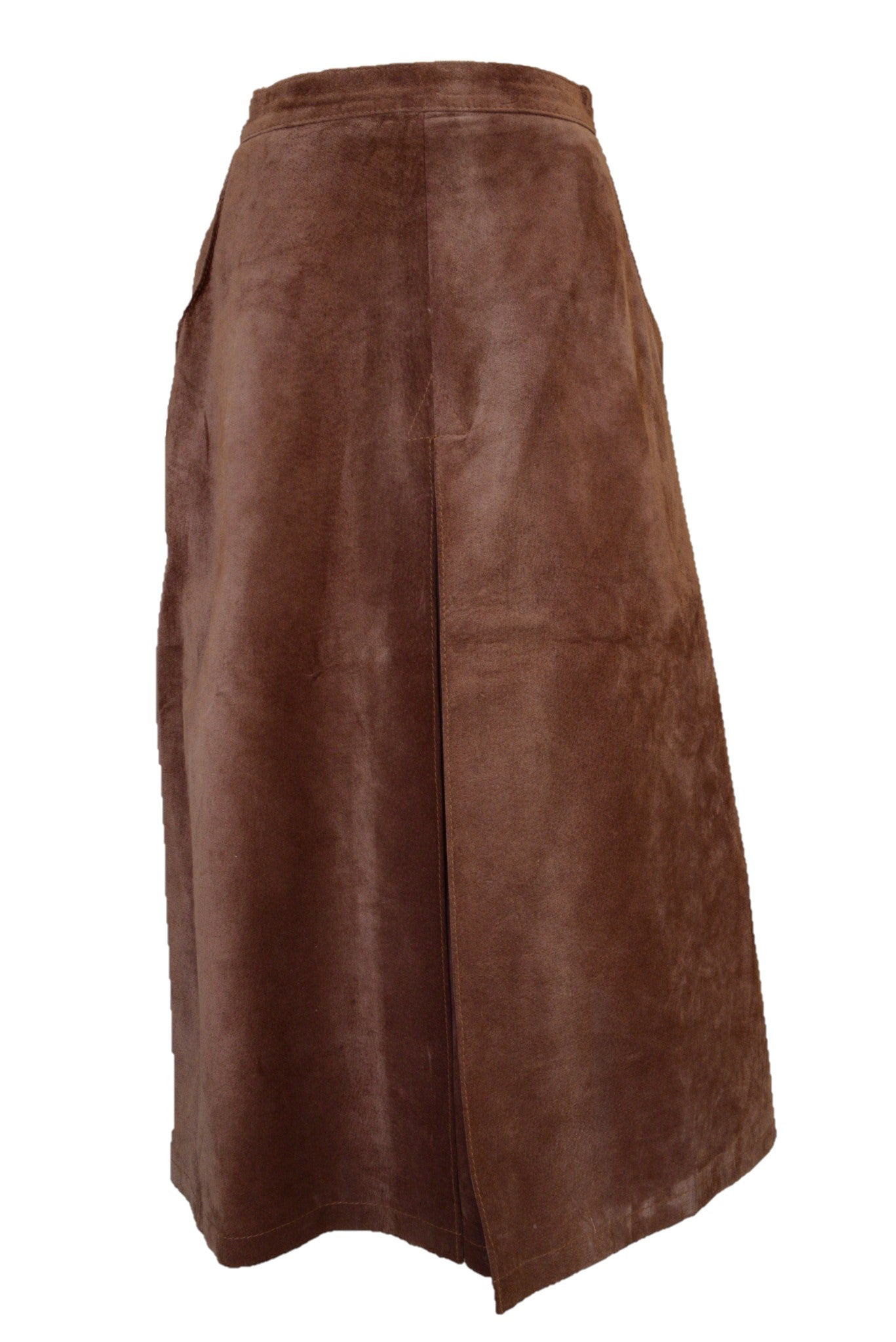 Brown suede skirt, front view