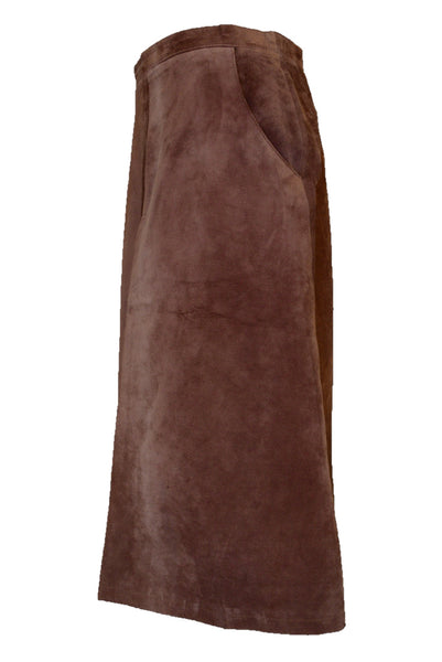 Brown suede skirt, side view