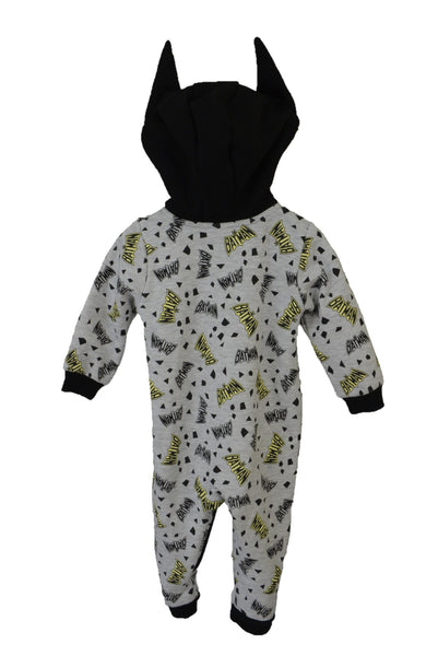 DC Comics Batman baby onesie with hood, back view.