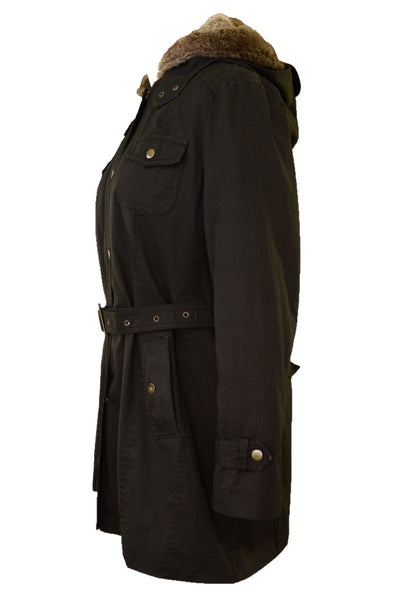 JYY black winter coat, side view