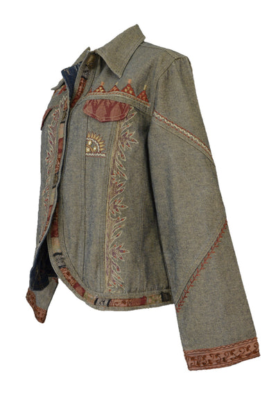 Flashback Couture Embroidered Denim Jacket - Size L