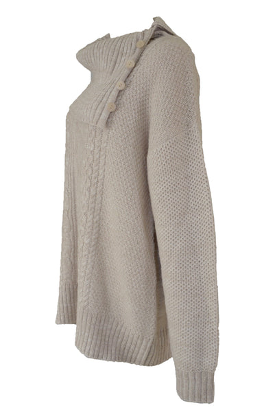 Jendi beige cowl neck knit jumper, side view