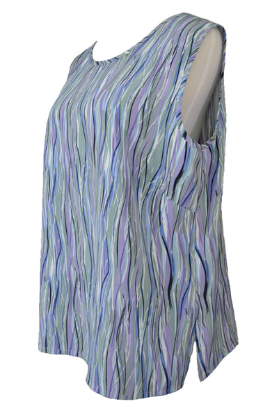 Vintage 80s David / Tosol sleeveless top, blue, green and purple, side view.