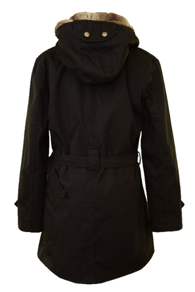 JYY black winter coat, back view