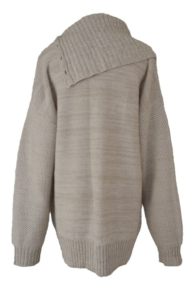 Jendi beige cowl neck knit jumper, back view