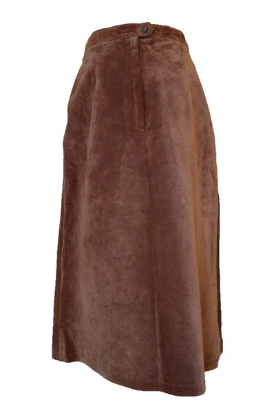 Brown suede skirt, back view