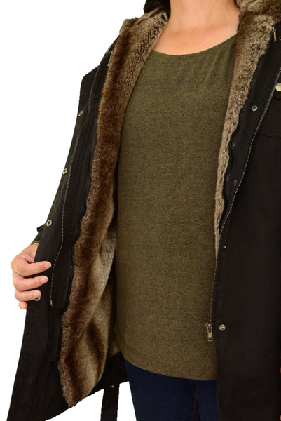 JYY black coat showing faux fur lining