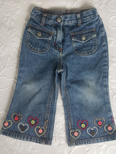 Gymboree toddler denim jeans with button detail on hem