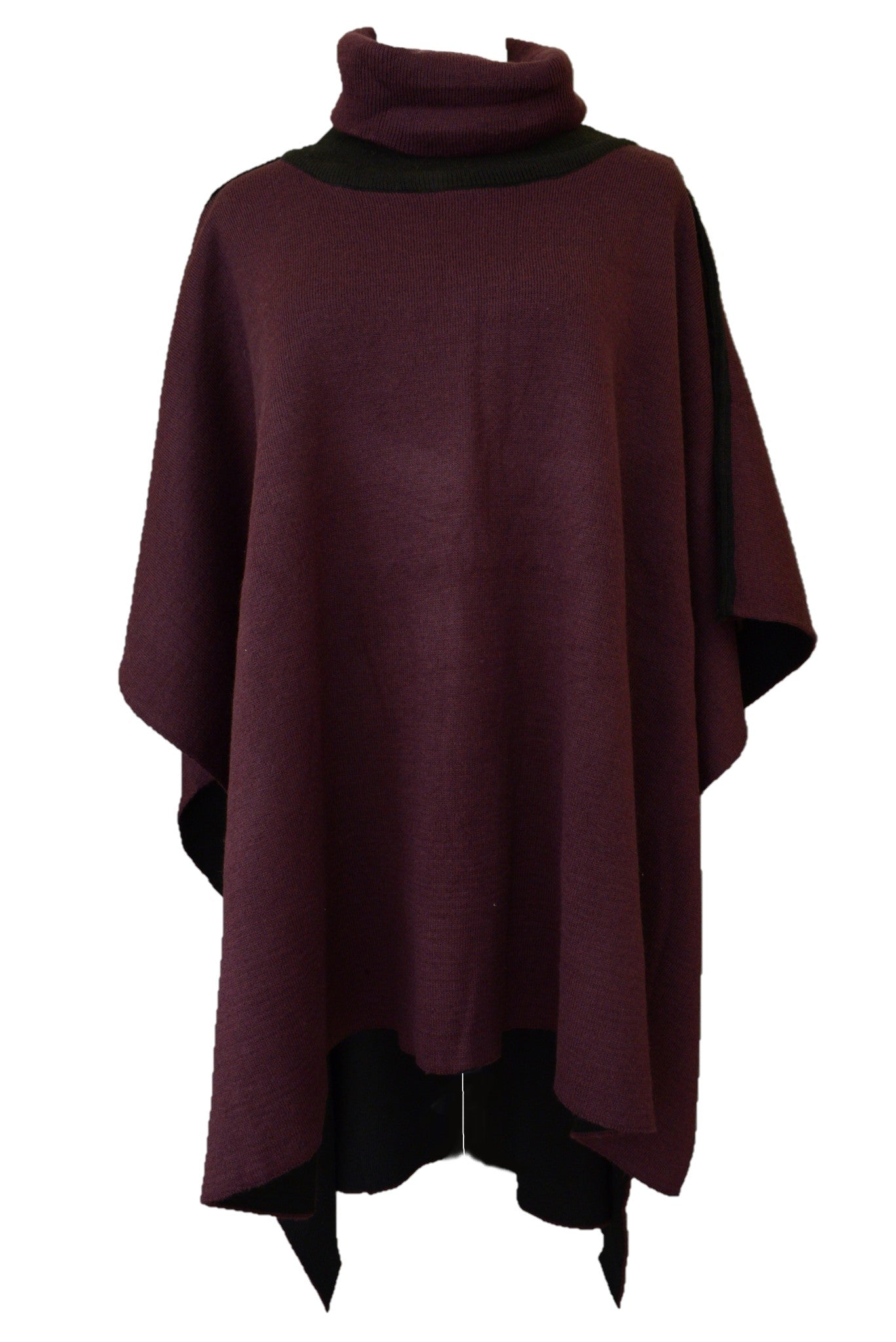 Katies boysenberry and black knit poncho
