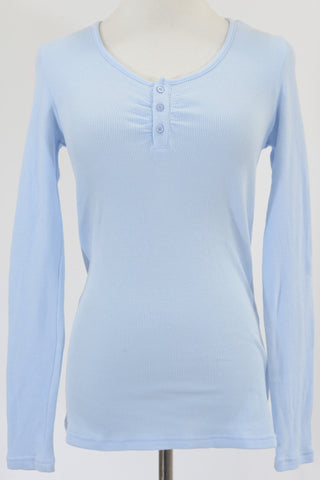 Peter Alexander long-sleeved pyjama top, pale blue.