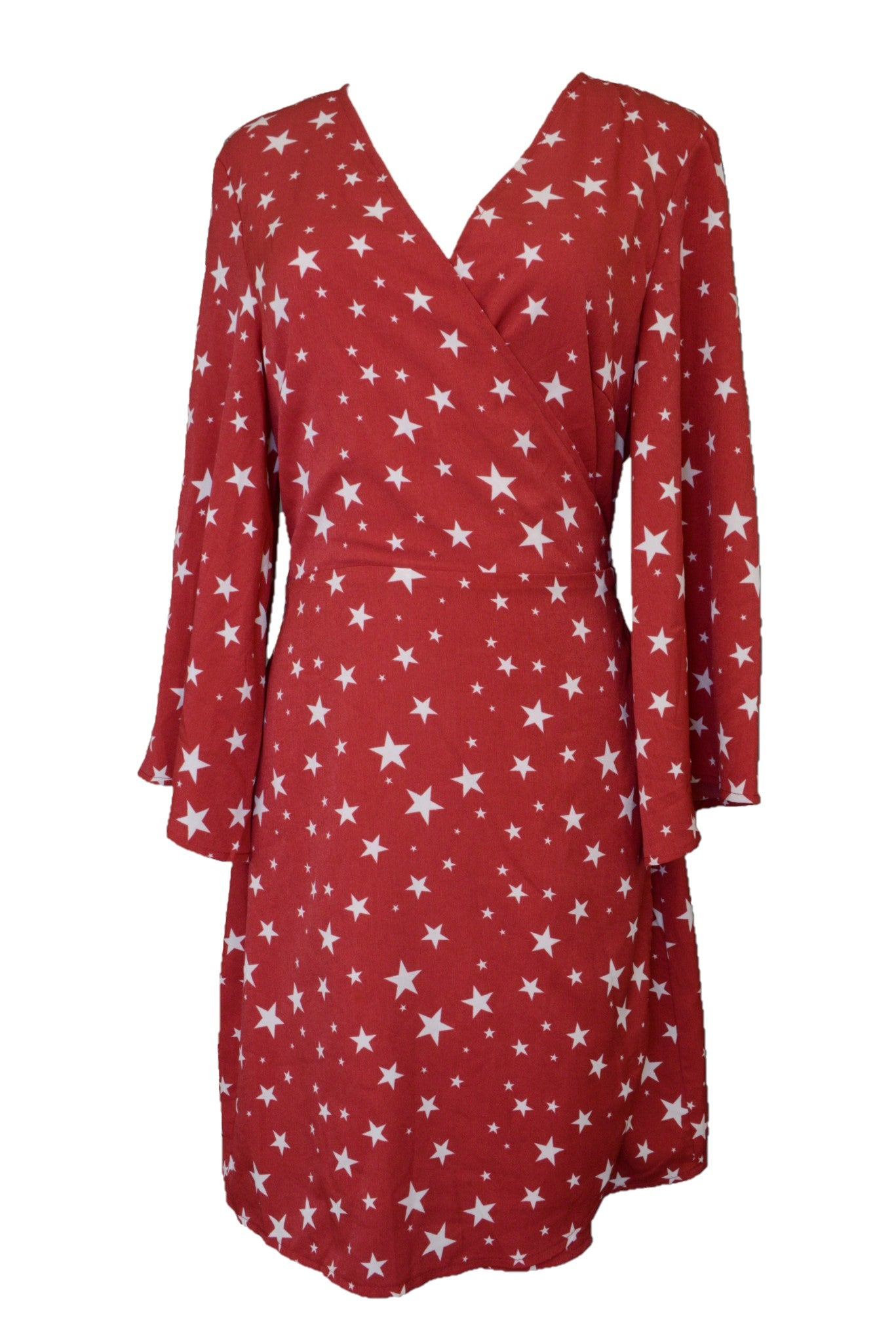 Atmos & Here wrap dress, red and white stars