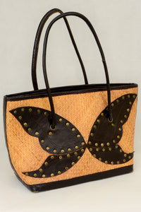 Rattan tote handbag with butterfly design
