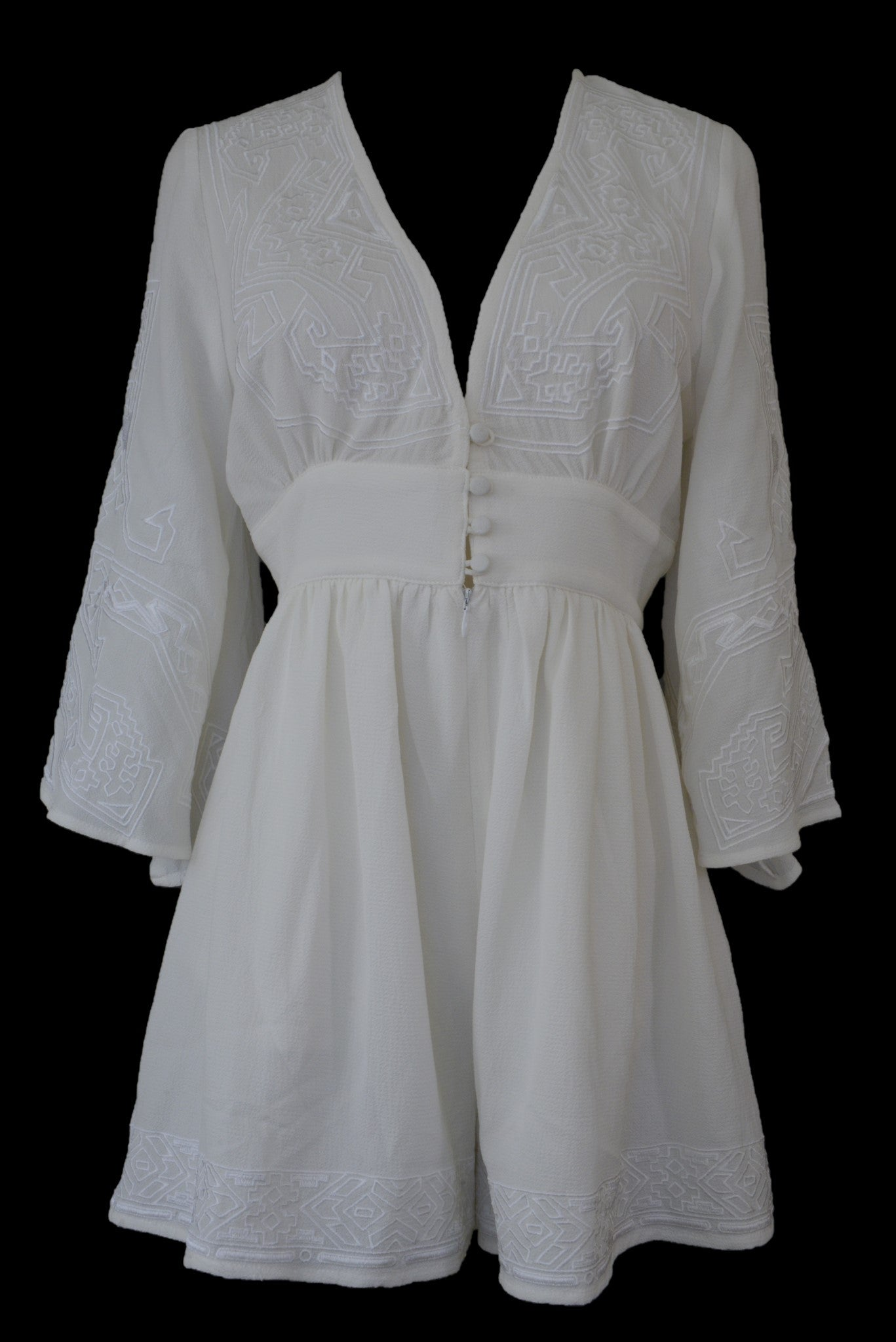Slide Show cream embroidered short playsuit