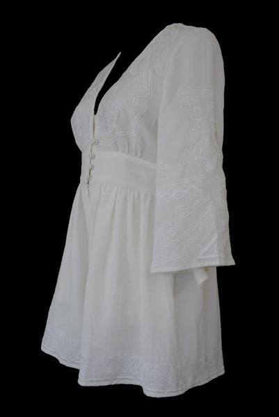 Slide Show cream embroidered playsuit, side view
