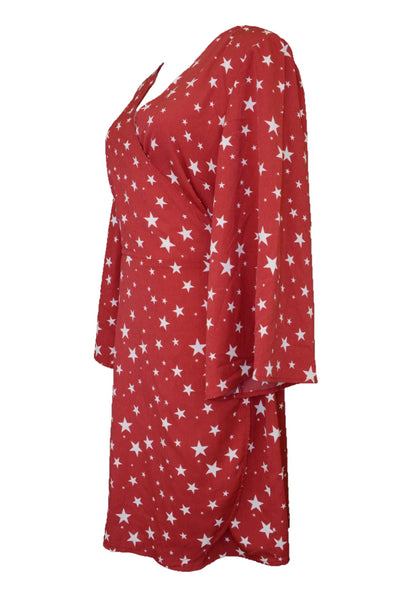 Atmos & Here wrap dress, red and white stars, side view