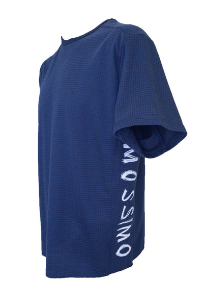 Mossimo men's navy blue t-shirt, side view.