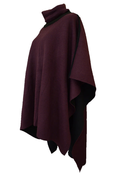 Katies boysenberry poncho, side view