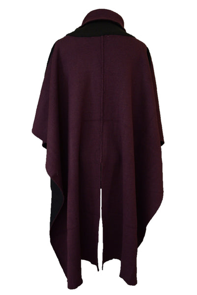 Katies boysenberry poncho, back view