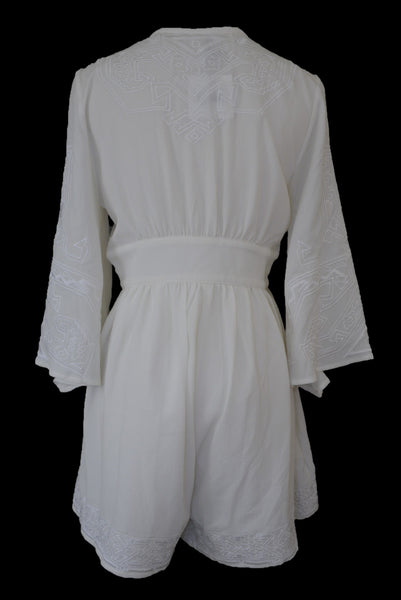 Slide Show cream embroidered short playsuit, back view