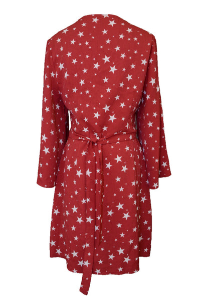 Atmos & Here wrap dress, red and white stars, with tie at back