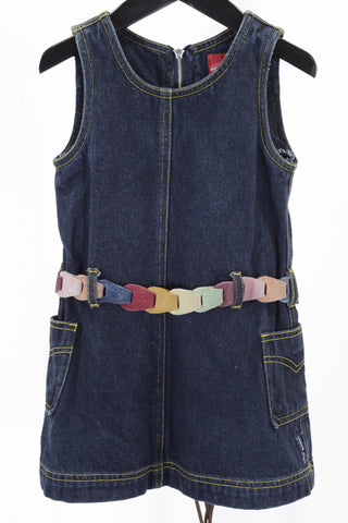 Preloved Fred Bare toddler's denim pinafore dress with colourful belt.